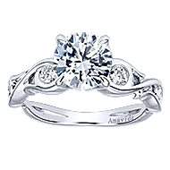 Carly 18k White Gold Round Straight Engagement Ring angle 5