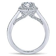 Carnation 14k White Gold Round Halo Engagement Ring angle 2