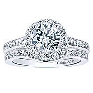 Carnation 14k White Gold Round Halo Engagement Ring angle 4