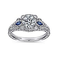 Carolina Platinum Round 3 Stones Halo Engagement Ring