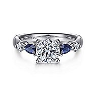 Carrie 14k White Gold Round 3 Stones Engagement Ring angle 1