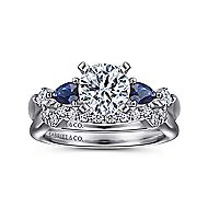 Carrie 14k White Gold Round 3 Stones Engagement Ring