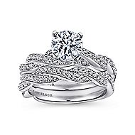 Cassidy 14k White Gold Round Twisted Engagement Ring angle 4