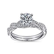 Cassidy 14k White Gold Round Twisted Engagement Ring angle 5