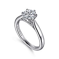 Cassie 14k White Gold Round Solitaire Engagement Ring angle 3