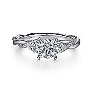 Catalina 14k White Gold Round Twisted Engagement Ring angle 1