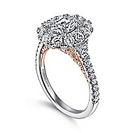 Cate 14k White And Rose Gold Oval Double Halo Engagement Ring angle 3