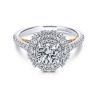 Cate 14k White And Rose Gold Round Double Halo Engagement Ring angle 1
