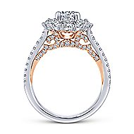 Cate 14k White And Rose Gold Round Double Halo Engagement Ring angle 2