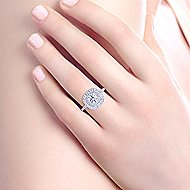 Cate 14k White And Rose Gold Round Double Halo Engagement Ring