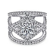 Catena 14k White Gold Round Halo Engagement Ring angle 1