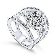 Catena 14k White Gold Round Halo Engagement Ring angle 3