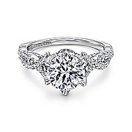 Caterina 18k White Gold Round Twisted Engagement Ring angle 1