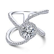 Celeste 18k White Gold Round Halo Engagement Ring angle 1