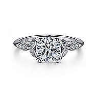 Celia 14k White Gold Round Straight Engagement Ring angle 1