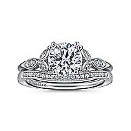 Celia 14k White Gold Round Straight Engagement Ring