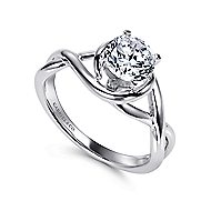 Celine 14k White Gold Round Twisted Engagement Ring angle 3