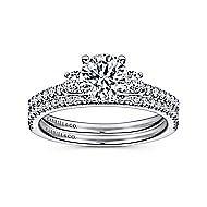 Chantal 14k White Gold Round 3 Stones Engagement Ring angle 4