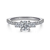 Chantal 14k White Gold Round 3 Stones Engagement Ring angle 1