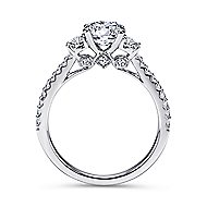Chantal 14k White Gold Round 3 Stones Engagement Ring angle 2