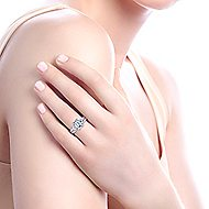 Charlene 18k White Gold Emerald Cut 3 Stones Engagement Ring