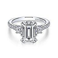 Charlene 18k White Gold Emerald Cut 3 Stones Engagement Ring angle 1