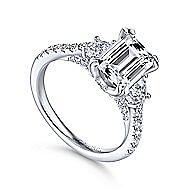 Charlene 18k White Gold Emerald Cut 3 Stones Engagement Ring angle 3