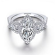 Charlene 18k White Gold Marquise  3 Stones Halo Engagement Ring angle 1