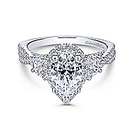 Charlene 18k White Gold Pear Shape 3 Stones Engagement Ring angle 1