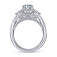 Charlene 18k White Gold Pear Shape 3 Stones Engagement Ring angle 2