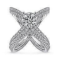 Chasma 18k White Gold Round Split Shank Engagement Ring angle 4