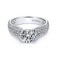 Chessie 14k White Gold Round Straight Engagement Ring angle 1