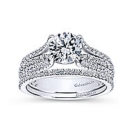 Chessie 14k White Gold Round Straight Engagement Ring angle 4