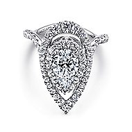 Chiara 18k White Gold Pear Shape Double Halo Engagement Ring angle 1