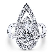 Chiara 18k White Gold Pear Shape Double Halo Engagement Ring angle 5