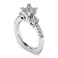 Chloe 14k White Gold Princess Cut 3 Stones Engagement Ring angle 3