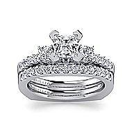 Chloe 14k White Gold Princess Cut 3 Stones Engagement Ring angle 4