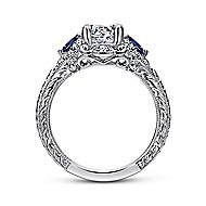Chrystie 14k White Gold Round 3 Stones Halo Engagement Ring angle 2