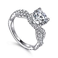 Clancy 18k White Gold Round Twisted Engagement Ring angle 3
