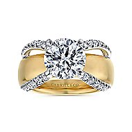 Clark 14k Yellow And White Gold Round Wide Band Engagement Ring