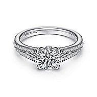 Clavel 18k White Gold Round Split Shank Engagement Ring angle 1