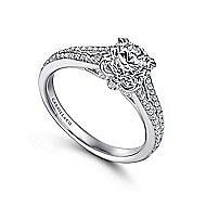 Clavel 18k White Gold Round Split Shank Engagement Ring angle 3