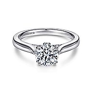 Cleopatra 18k White Gold Round Solitaire Engagement Ring angle 1