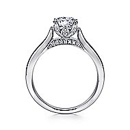 Cleopatra 18k White Gold Round Solitaire Engagement Ring angle 2