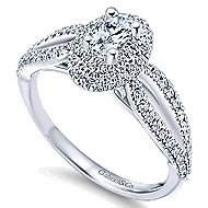 Clinton 14k White Gold Oval Double Halo Engagement Ring angle 3