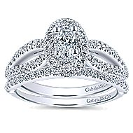 Clinton 14k White Gold Oval Double Halo Engagement Ring angle 4