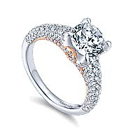 Clover 18k White And Rose Gold Round Straight Engagement Ring angle 3