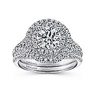 Colette 14k White Gold Round Double Halo Engagement Ring angle 4