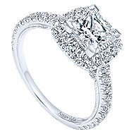 Compassion 18k White Gold Princess Cut Halo Engagement Ring angle 3