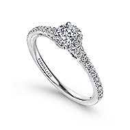 Coney 14k White Gold Round Halo Engagement Ring angle 3